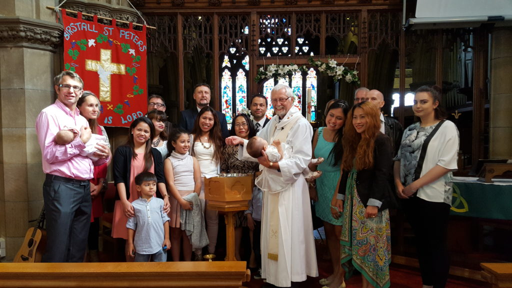 An infant baptism at St Peter's
