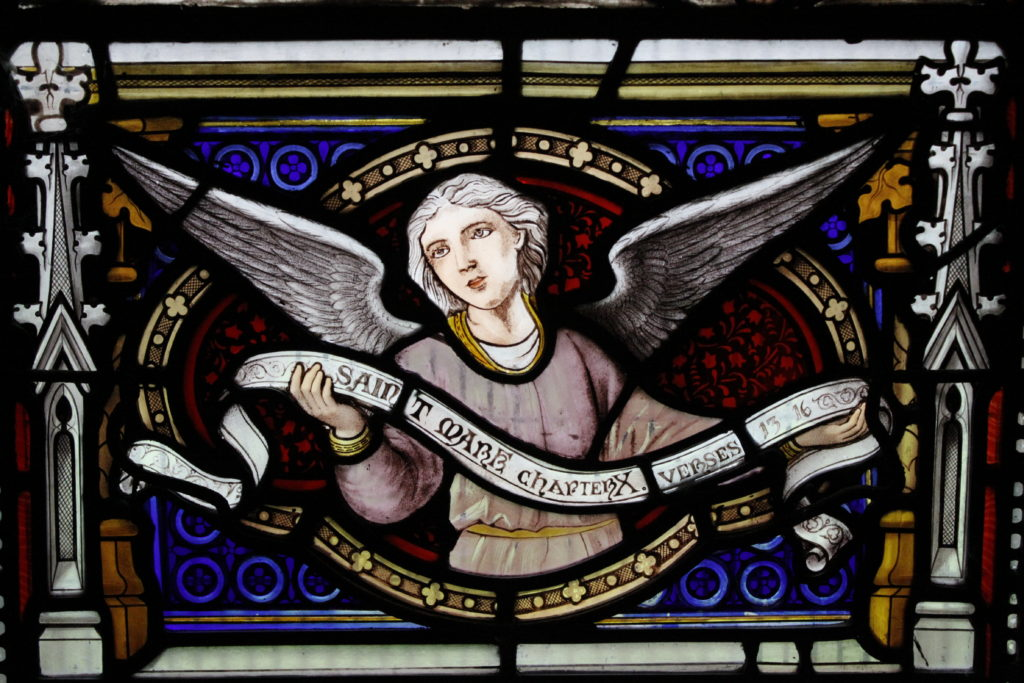 Detail of a stained glass window at St Peter's church