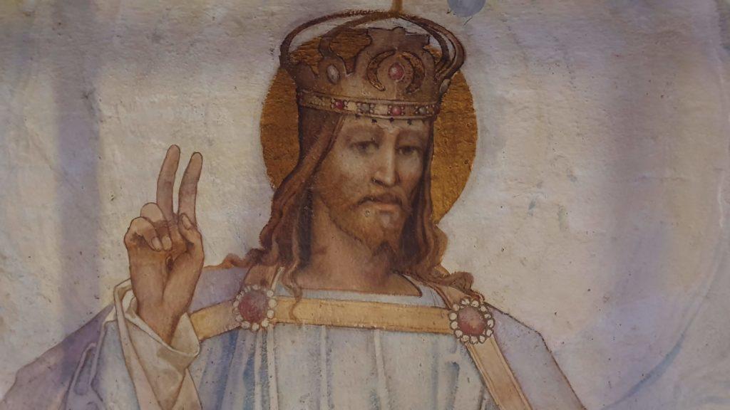 Detail of Jesus in the Frampton mural